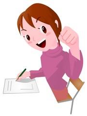 資格試験に挑戦する女性