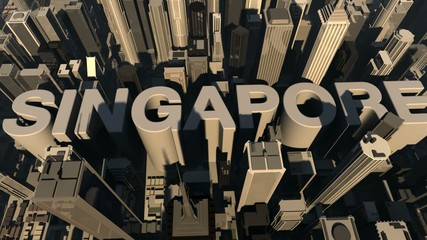 animation from the city name Singapore with building