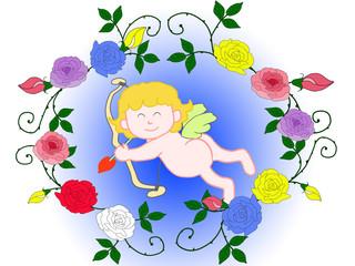 薔薇とキューピッド