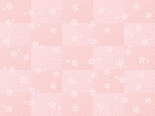 桜小紋 市松 和風背景