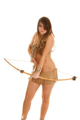 Native American woman bikini bow down