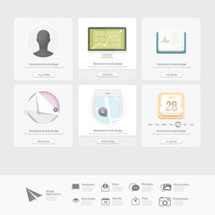 Collection of Colorful  flat UI elements for website with icons