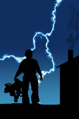 Silhouette man holding a saddle by side lightning cabin