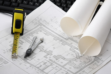 construction drawings at engineer`s workplace.