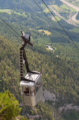 funicular. landscape with a cable car in Austrian Alps