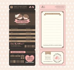 Cute Groom and Bride Vintage Boarding Pass Ticket Wedding Invita