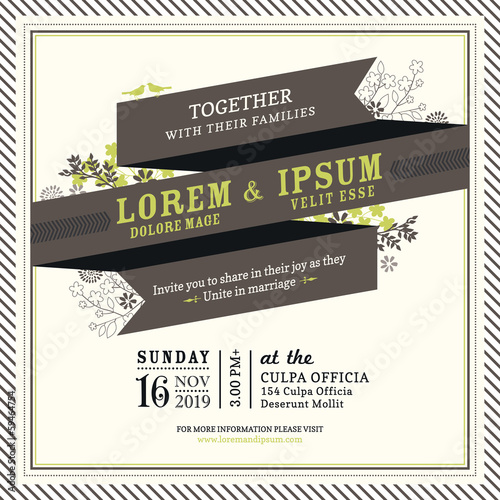 Vintage Ribbon banner Wedding invitation template