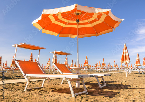 Beach Umbrellas at the beginning of the Season - Rimini Beach, I