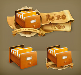 Open card catalog wooden, vector icon