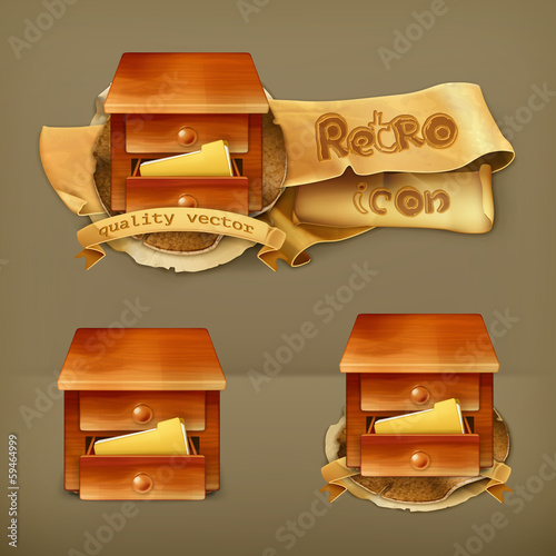 Secretary desk, vector icon