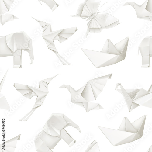 Origami, vector seamless pattern