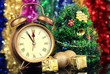 Composition of clock and christmas decorations