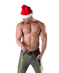 Sexy muscular Santa Claus working out