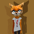 Cute fashion Hipster Animal, pet, vector Eps10 image.