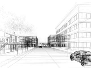 sketch design of city ,3dwire frame render