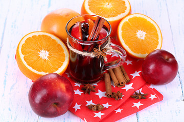 Fragrant mulled wine in glass
