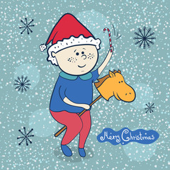 Little boy with toy horse, christmas illustrations