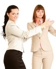 businesswomen putting their hands, isolated on white background.
