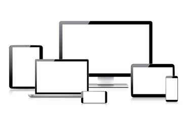 Very realistic electronic devices vectors isolated on white