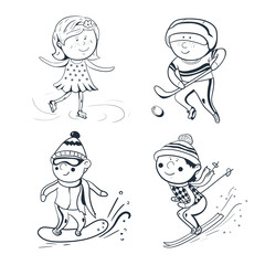 Winter sports, vector sketch sportsmen