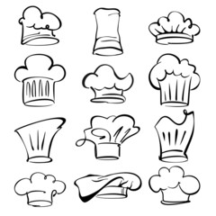 chef hats collection  cartoon vector  illustration