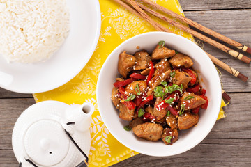 Pork with vegetables in asian style