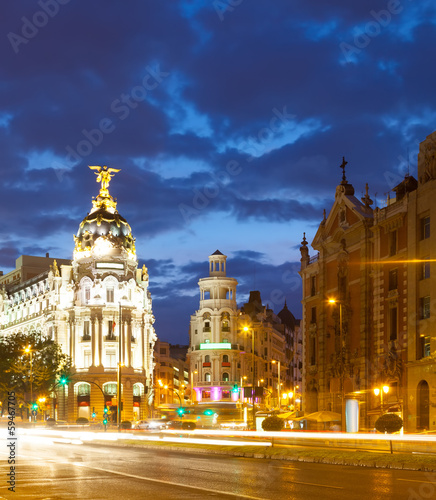 Evening view of Madrid