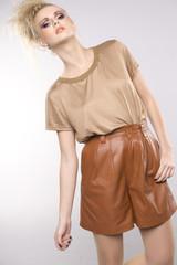 beautiful adult sensuality woman in brown dress