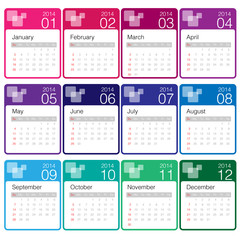 minimal calendar 2014 year colourful