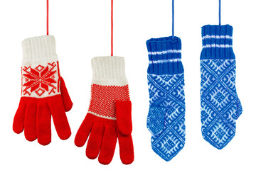 Blue and red knitted mittens