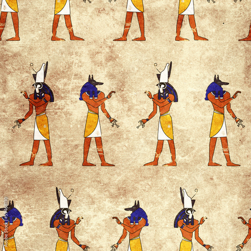 Seamless background with Egyptian gods images