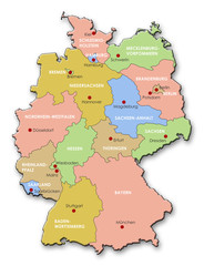 Map of Germany, States + Capitals