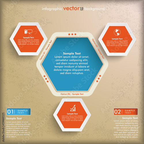 Hexagon Vintage Infographic 3 Options