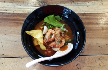 Thai food , Noodles in Sour and spicy shrimp soup (Tomyum Kung)