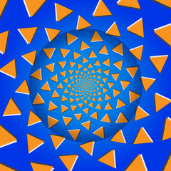 Rotating Triangles, Optical Illusion, Vector Illustration Patter
