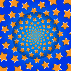 Rotating Stars, Optical Illusion, Vector Illustration Pattern Ba