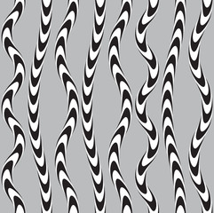 Black and White Twisted Ribbon, Vectro Seamless Pattern.