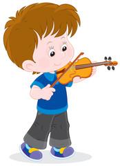 Boy playing his small violin