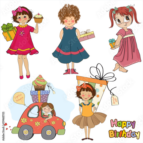 Young girls with gifts, items collection