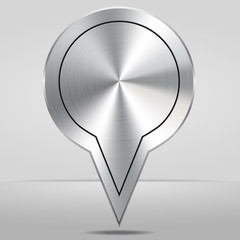 Silver Map Location Pointer Icon Vector Illustration.