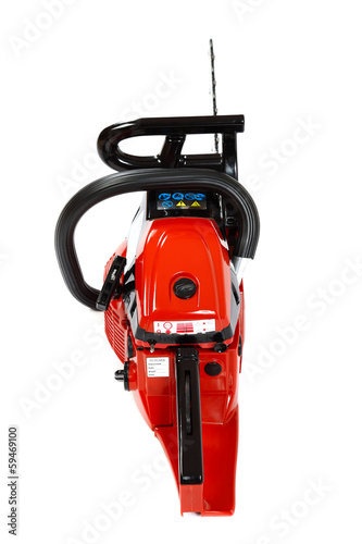 Gasoline chain saw on a white background.