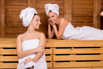 Women in sauna.