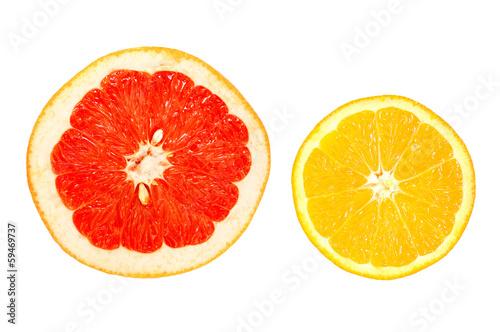 fruits on white