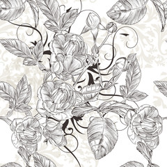 Vector seamless wallpaper pattern with roses flowers