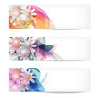 set of three abstract banners with flowers