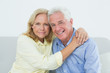 Romantic relaxed senior couple at home