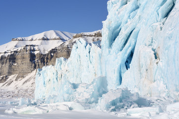 Front of a glacier ending against pack ice.