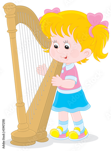 Little girl playing a harp