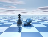 beautiful blue, reflective abstract background with chess pawns