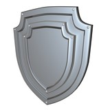 metal shiny shield back view isolated